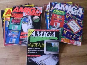 A bunch of English Amiga magazines