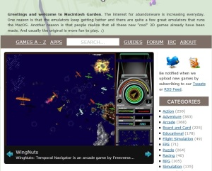 A picture of The Macintosh Garden website (snapshot by Old School Game Blog)