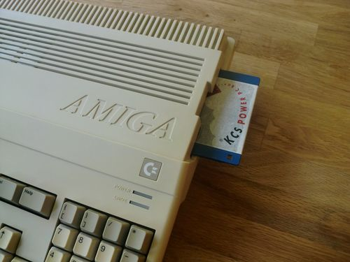 My Amiga 500 with a KCS diskette (photo by Old School Game Blog)