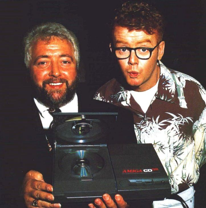 At the launch of the Amiga CD32 in 1993, David Pleasance and Chris Evans (taken from http://www.amigahistory.co.uk/celebrities.html)