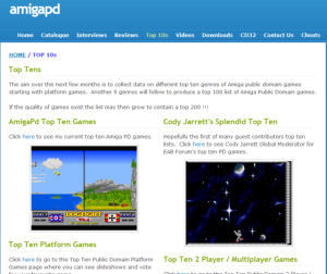AmigaPD website (screenshot by Old School Game Blog)