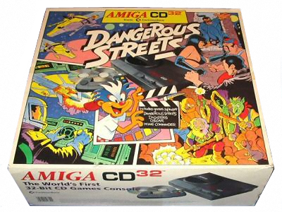 The Amiga CD32 - Dangerous Streets Bundle (taken from Amiga History Guide at http://www.amigahistory.co.uk/dangstreet.html)