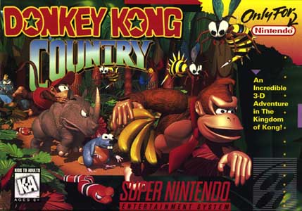 The cover of Donkey Kong Country on the SNES (taken from Neko Random Blog)