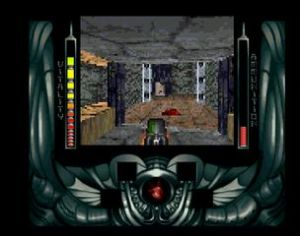 Screenshot from Alien Breed 3D (snapshot by Old School Game Blog)