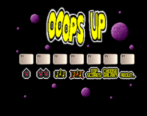 The main menu of Ooops Up (screenshot by Old School Game Blog)