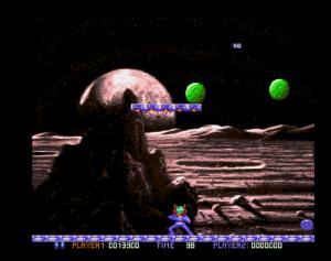 Bouncing balls (meteors) (screenshot by Old School Game Blog)