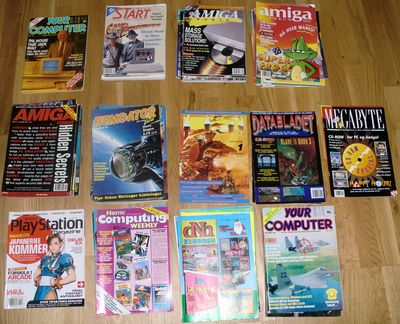 The magazines spread out on the floor in different stacks. (photo by Old School Game Blog)