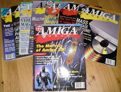 Several Amiga World issues - great reading material. (photo by Old School Game Blog)