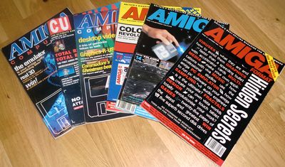 Various Amiga magazines, including CU Amiga and Amiga Format (photo by Old School Game Blog)