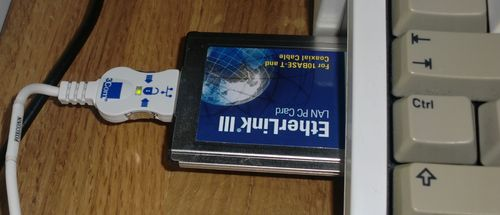 My 3Com ethernet card hooked up to the Amiga 1200 (photo by Old School Game Blog)