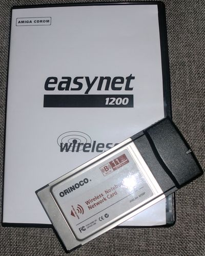 EasyNet software and a PCMCIA WLAN card from AmigaKit (photo by Old School Game Blog)