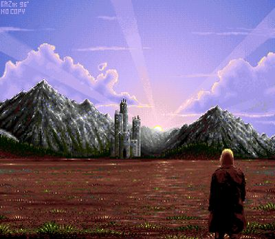 The first part of the intro. This is a screenshot of a man walking towards a castle (screenshot by Old School Game Blog).