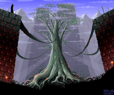 Another screenshot from the intro. Here you can see the tree I was writing about above (screenshot by Old School Game Blog).