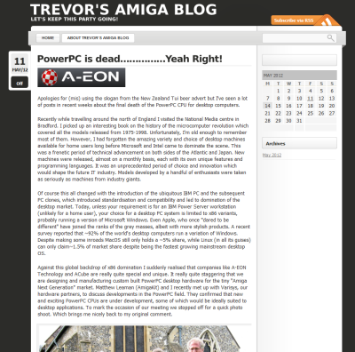 A screenshot of Trevor's Amiga Blog (screenshot by Old School Game Blog)