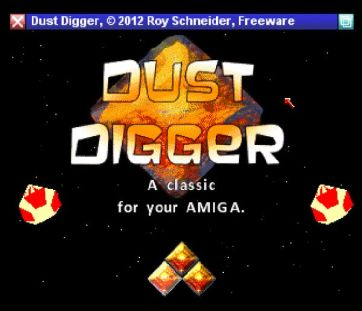 Dust Digger - nice title screen (screenshot by Old School Game Blog)