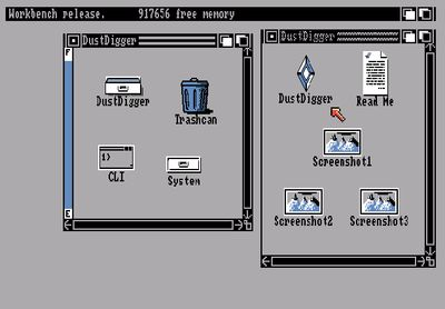 Launching Dust Digger from Workbench (screenshot by Old School Game Blog)