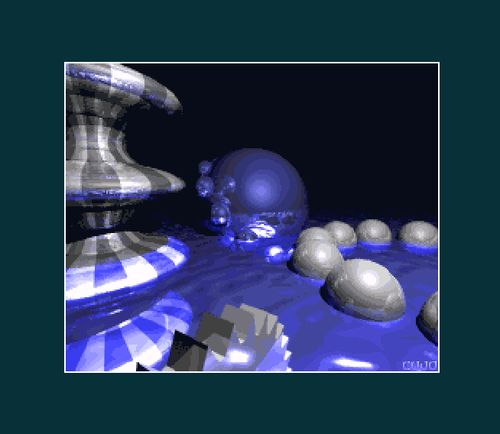 Raytracing by Cujo (screenshot by Old School Game Blog)