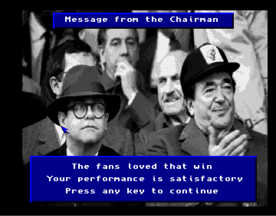 The fans (screenshot taken from Crowd trouble? The Police is there to serve and protect. (screenshot taken from A screenshot for the upcoming game: 1980's Football Manager (picture taken from http://amosgames.weebly.com/slideshow.html)