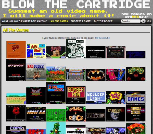 A screenshot of the website called Blow the Cartridge (screenshot by Old School Game Blog)