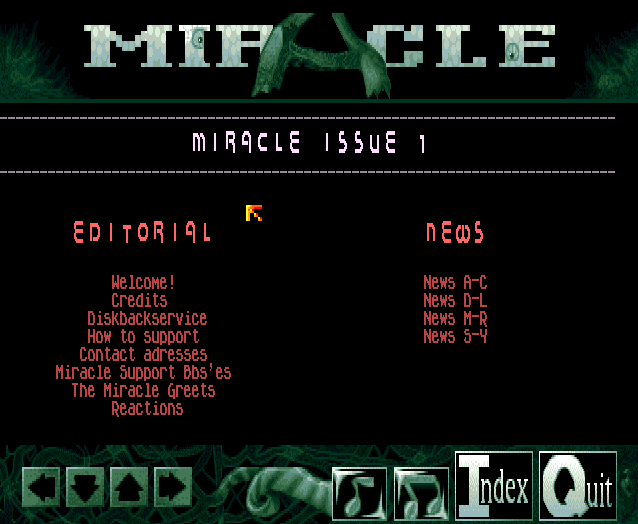 Miracle by IRIS in all its glory. Here is the main menu. Stylish and elegant interface (screenshot done by Old School Game Blog for Classicamiga.com)