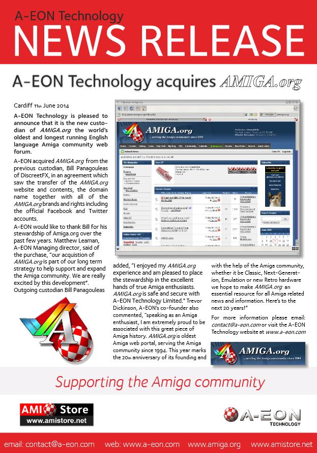 News release concerning Amiga.org