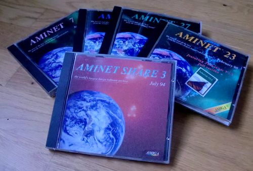 Some of my Aminet CD-s (photo by Old School Game Blog)