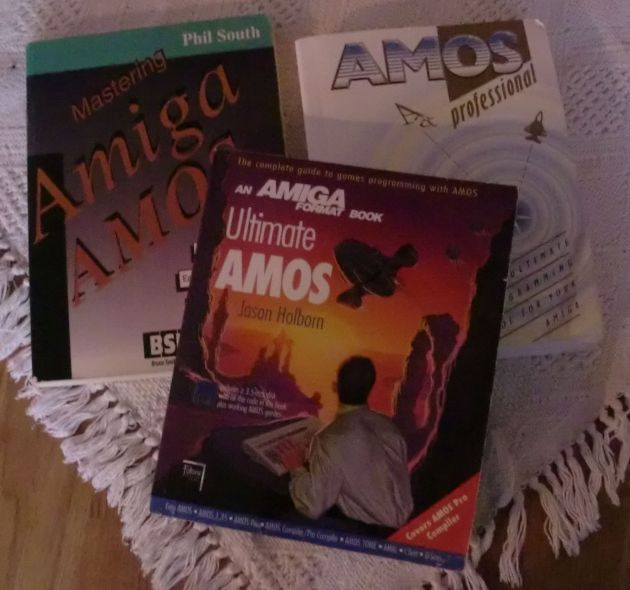Three Amiga AMOS books (photo by Old School Game Blog)