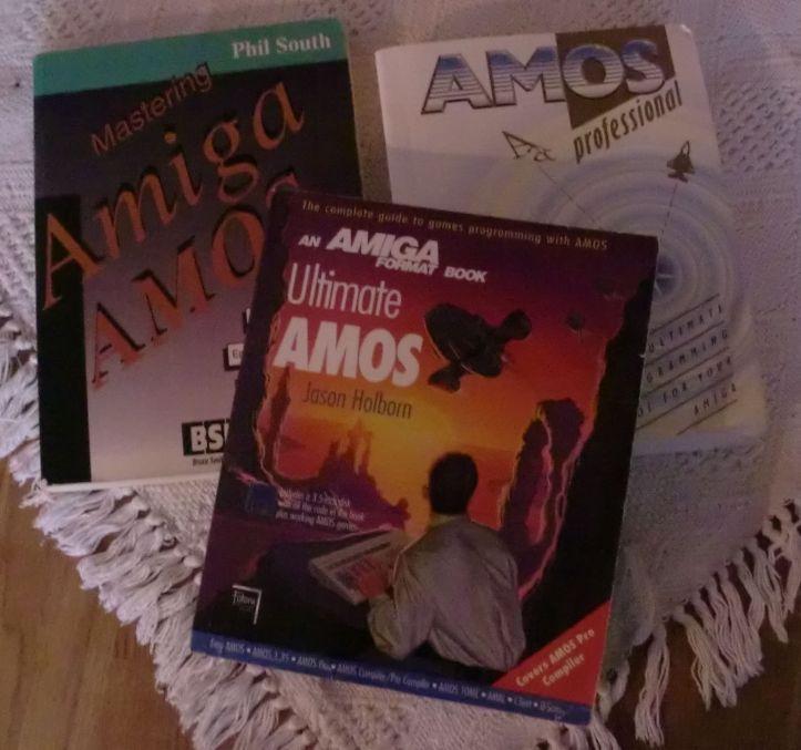 Three Amiga AMOS books (photo by Old School Game Blog)