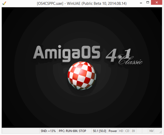 AmigaOS 4.1 boots on WinUAE - picture taken from http://eab.abime.net/showthread.php?t=74710