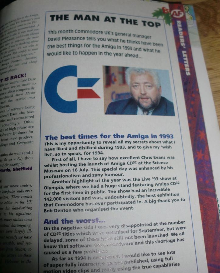 Mr. David Pleasance gives his thoughts on 1993 and what is head in 1994. As you know Commodore went bankrupt in 1994. :( (photo by Old School Game Blog)