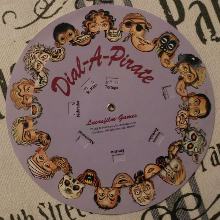 Dial-A-Pirate wheel - copy protection (photo by Old School Game Blog)
