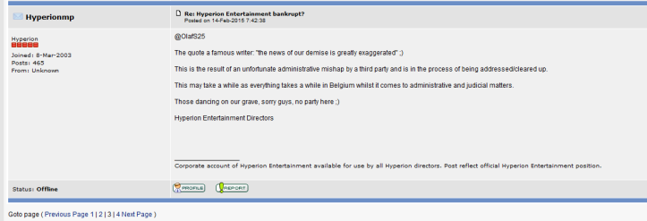 Statement from Hyperion (screenshot by Old School Game Blog)
